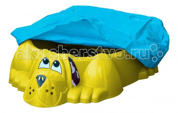 Palplay (Marian Plast) Песочница-бассейн Собачка + тентПесочница-бассейн Собачка + тентЭта очаровательная собака украсит любой двор. Можно насыпать песок или налить воды. Прочный безопасный пластик. Широкие бортики. На специальном выступе малыш может посидеть.   Размеры : 115x92x25.  Вес:4 кг.  Внимание! Тент во всех расцветках голубой!<br>