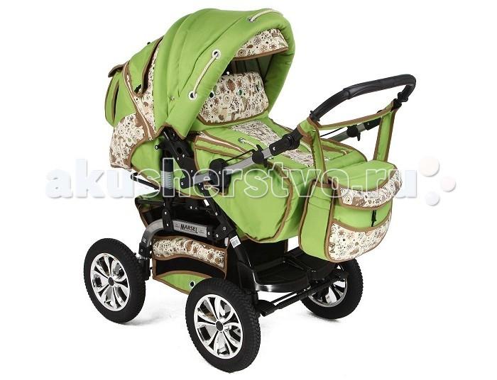 Коляска-трансформер Marimex MarselMarselКоляска трансформер Marimex Marsel отлично подойдет как для новорожденного крохи, так и для подросших малышей 3-4 лет. В уютной люльке ребенку обеспечен сладкий сон на свежем воздухе, а малышу постарше можно обеспечить сон в удобной позе благодаря раскладывающейся до горизонтального положения спинке.  Небольшой вес коляски, всего 14 кг, позволит Вам легко выходить на улицу без посторонней помощи, а шасси шириной 60 см даст возможность пройти через любые двери, в том числе и лифта.    Люлька:   Удобная люлька-переноска с ручками, обшитая изнутри гипоаллергенной обивкой;  Смотровое окошко в козырьке поможет Вам быть в курсе всей деятельности ребенка.  Прогулочный блок:   Спинка регулируется в нескольких положениях, если Ваш ребенок уснет на прогулке, можно разложить сиденье до положения «лежа».   Малыш очень быстро растет, и Вам скоро пригодится регулируемая подножка;  Пятиточечные ремни для безопасности ребенка дополнены ограждающим бампером.   Ручка:   Телескопическая ручка позволит менять положение коляски во время прогулки;  Регулировка по высоте.   Колеса:   4 одинарных колеса;  Большие надувные колеса обеспечивают хорошую проходимость даже по проселочным или грунтовым дорогам.   Шасси:   Благодаря пружинной системе амортизации, коляска идет плавно даже по плохой дороге;  Сетчатая корзина для покупок и детских игрушек станет Вам помощником во время прогулки;  Коляска легко складывается «книжкой» и хранится в вертикальном положении.   В комплекте:  переноска-конверт, сетка, накидка на ножки для прохладной погоды, дождевик, сумка такого же дизайна, как и коляска.<br>