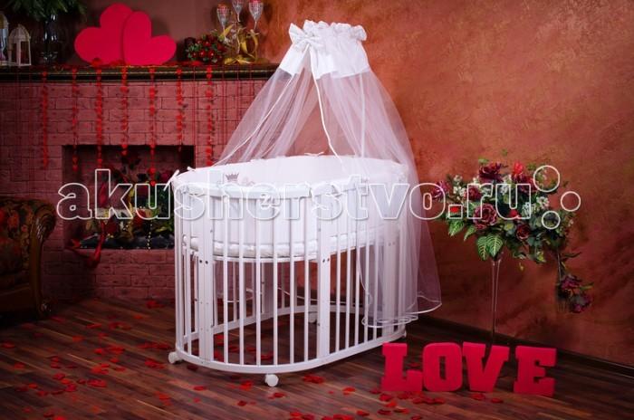 Кроватка-трансформер Maro Lux 8 в 18 в 1Maro LUX Детская круглая кроватка трансформер 8 в 1 выполнена из натурального массива дерева сосны!   Кроватка трансформер 8 в 1 растет вместе с Вашим малышом: люлька ( от 0 до 5-6 месяцев) -миниатюрная необычная люлька размером 75 х 75 см. Она легкая, компактная на бесшумных колесиках с тормозом. пеленальный столик - важная, необходимая и очень нужна вещь, в первые месяца жизни младенца. Комфортное пеленание и удобный столик для необходимых вещей. овальная кроватка с 5 месяцев - в этом возрасте у малышей появлется желание больше двигаться, для этого люльку трансформируют в кроватку размером 75 на 125 см, дно опускается на срений уровень. манеж - необходимо опустить дно кроватки в самое нижнее положение, малыш не сможет самостоятельно выбраться и будет чувствовать себя комфортно. диванчик - на втором году жизни детей уже не удержать никакими игрушками и манежами. Для этого мы предусмотрели превращение кроватки в диванчик с 2 уровнями высоты. Это позволит малышу быть более самостоятельным, самому ложиться спать и слазить с кроватки. стол и два стульчика - если Ваши дети уже выросли, и у вас нет необходимости держать в квартире кроватку, то разобрав ее, Вы получите два полноценных кресла и столик В комплекте: Круглая кроватка трансформер 8 в 1: 2 матраса круглый и овальный Кроватка: 1. Люлька (колыбель) 2. Пеленальный столик  3. Овальная кроватка  4. Диванчик  5. Манеж  6. Стол  7. Два стульчика                                             Матрасы: пенополиуретан, выдержка 60 кг, сверху ткань хлопок стёганный жаккард.  Размеры кровати внутри: колыбель 75 x 75 см овал 125 х 75 см  Размер колыбельки: (ДхШхВ) 76х76х87 Размер овальной кроватки: (ДхШхВ) 128х76х87 Размера пеленального столика: (ДхШхВ) 50х76х74 Покрытие: гипоаллергенное Уровни высоты ложа 4 Соответствует всем требованиям безопасности Необычный и современный дизайн Легкая трансформация Отсутствие острых углов Два отдельных матраса<br>