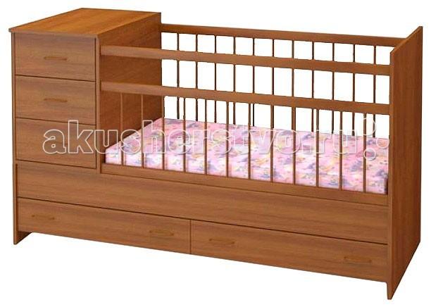 Кроватка-трансформер Бэби Бум МарусяМарусяКроватка-трансформер Бэби Бум Маруся – удобная и практичная кроватка.Конструкция кроватки Маруся предполагает наличие вместительных ящиков и комода для хранения детских вещей и спального белья, все хранится в непосредственной близости к малышу.   Кроватка оснащена ограждением из экологически чистого материала - берёзы, где переднее ограждение состоит из неподвижной, жёстко закреплённой части, и опускающегося верхнего сегмента с силиконовыми накладками.   Конструкция кроватки-трансформера предусматривает возможность установки тумбы как с правой стороны, так и с левой.   Особенности: Тумба комод из 3-х выдвижных ящиков;  Переднее ограждение состоит из неподвижной, жёстко закреплённой части, и опускающегося верхнего сегмента с силиконовыми накладками;  Для хранения детских принадлежностей внизу есть два выдвижных ящика.  Детская кровать со спальным местом 120х60 см;  Подростковая кровать со спальным местом 160х60 см.  Комод 40х60 см; Размер кроватки - 165 х 65 х 100<br>
