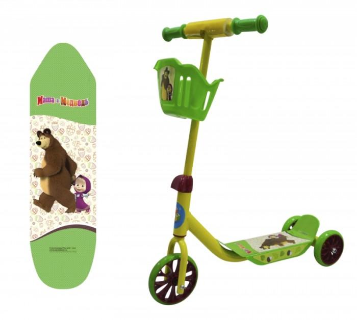 Трехколесный самокат Маша и Медведь с корзиной фото