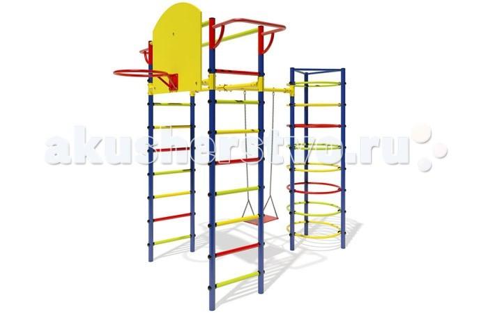 Маугли Детский спортивный комплекс 12Детский спортивный комплекс 12Если вы хотите быть спокойны за своих деток, уделяете внимание их физическому развитию, то приобретая им на радость детский спортивный комплекс для улицы и дачи, вы тем самым делаете инвестиции в их здоровье. Установленный в вашем дворе или на даче детский спортивный комплекс , сочетающий в себе элементы игры и спорта, станет излюбленным местом для весёлых игр и соревнований детворы. Играя в своё удовольствие на свежем воздухе, дети развиваются физически.   Изготавливаются детские уличные спортивные комплексы из экологичных материалов, при их производстве используется нержавеющая сталь, они устойчивы к атмосферным осадкам и перепадам температуры и рассчитаны на длительную эксплуатацию. Все модели детских спортивных комплексов для улицы и дачи сертифицированы и безопасны.   Шикарный дачный спортивный комплекс, оснащенный турником, кольцом, качелями. Такой комплекс развлечет Ваших детей и позволит всегда оставаться в отличной спортивной форме.  Крепление: цементируются «стаканы», в которые устанавливаются стойки ДСК Высота дачного комплекса: 2.65 м Занимаемая площадь: 2.72 х 2.00 м Допустимая нагрузка: 60 кг Комплектация дачного комплекса: турник, кольцо баскетбольное, качели (цепь)<br>