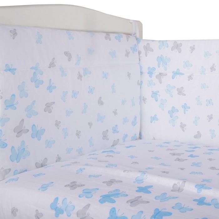 простыня тексдизайн на резинке цвет розовый Комплекты в кроватку BamBola Бортик и простыня на резинке Бабочки
