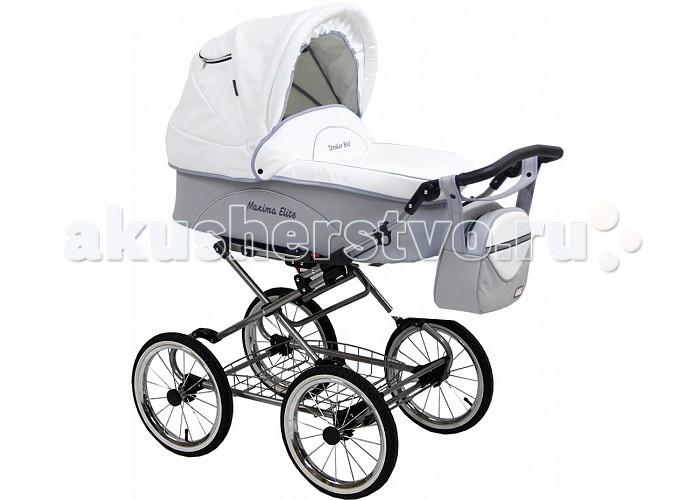 Коляска Maxima Elite XL 2 в 1 эко-кожаElite XL 2 в 1 эко-кожаКоляска Maxima Elite XL 2 в 1 эко-кожа - это стильная коляска с мягким ходом из эко-кожи, высокой проходимостью и прекрасной амортизацией. Богатый функционал и яркий дизайн делают эту модель привлекательной для молодых, современных родителей.         Люлька:  внутренний размер: 80х36х22 см водоотталкивающая ткань                                                                                                                                деревянное донышко регулируемый подголовник: 4 положения функция колыбели, с фиксаторами теплый конверт на натуральной набивной овчине, трансформируется в матрасик накидка на ножки вместительная сумка  капюшон с окошком для вентиляции и защитной сеткой вес (люлька + рама) 15 кг Прогулочный блок: спальное место: 84х34 см устанавливается лицом к маме и наоборот пятиточечные ремни безопасности возможность крепления мехового конверта наклон спинки регулируется в 4-х положениях капюшон (переставляется с люльки) подножка регулируется в нескольких положениях тканевая часть подножки защищена специальной пленкой Рама: облегченная стальная рама механизм складывания - книжка ширина шасси: 59 см колеса: надувные, камерные на подшипниках закрытого типа, не требующих смазки диаметр колес: 35 см корзина для покупок регулировка высоты ручки: 4 положения<br>