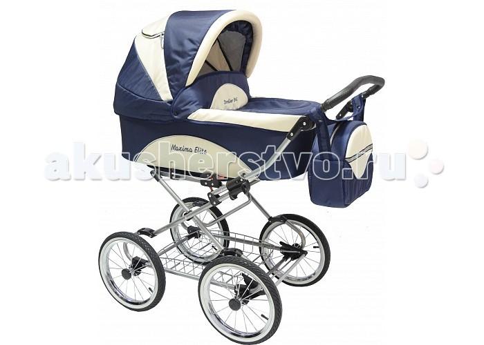 Коляска Maxima Elite XL 2 в 1Elite XL 2 в 1Коляска Maxima Elite XL 2 в 1 - это стильная коляска с мягким ходом, высокой проходимостью и прекрасной амортизацией. Богатый функционал и яркий дизайн делают эту модель привлекательной для молодых, современных родителей.         Люлька:  внутренний размер: 80х36х22 см водоотталкивающая ткань                                                                                                                                деревянное донышко регулируемый подголовник: 4 положения функция колыбели, с фиксаторами теплый конверт на натуральной набивной овчине, трансформируется в матрасик накидка на ножки вместительная сумка  капюшон с окошком для вентиляции и защитной сеткой вес (люлька + рама) 15 кг Прогулочный блок: спальное место: 84х34 см устанавливается лицом к маме и наоборот пятиточечные ремни безопасности возможность крепления мехового конверта наклон спинки регулируется в 4-х положениях капюшон (переставляется с люльки) подножка регулируется в нескольких положениях тканевая часть подножки защищена специальной пленкой Рама: облегченная стальная рама механизм складывания - книжка ширина шасси: 59 см колеса: надувные, камерные на подшипниках закрытого типа, не требующих смазки диаметр колес: 35 см корзина для покупок регулировка высоты ручки: 4 положения<br>