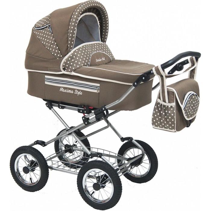 Коляска Maxima Style 3 в 1Style 3 в 1Maxima Коляска Style 3 в 1 – это стильная коляска с мягким ходом, высокой проходимостью и прекрасной амортизацией. Богатый функционал и яркий дизайн делают эту модель привлекательной для молодых, современных родителей.                                                                                                            Люлька- внутренний размер (д/ш/г) 80 х 36 х 22 см качественный водоотталкивающий материал деревянное донышко утепленные борта люльки ремни для переноски люльки                                                                                        съемный хлопковый бортик и матрасик регулируемый подголовник: 4 положения функция колыбели с фиксаторами теплый конверт на натуральной набивной овчине (на молнии, трансформируется в матрасик) накидка на ножки капюшон с окошком для вентиляции и защитной сеткой вместительная сумка, дождевик, москитная сетка вес (люлька + рама) 15 кг Прогулочный блок- спальное место (д/ш): 84 х 34 см устанавливается «лицом к маме» и наоборот пятиточечные ремни безопасности возможность  крепления мехового конверта наклон спинки регулируется в 4-х положениях капюшон (переставляется с люльки) своя накидка на ножки (тканевая) подножка регулируется в нескольких положениях тканевая часть подножки защищена специальной пленкой Рама - ширина шасси: 59 см облегченная стальная рама с кожаной ручкой механизм складывания - книжка колеса:  надувные, камерные  на подшипниках закрытого типа, не требующих смазки диаметр колес: 30 см (можно выбрать диаметр - 35 см) корзина для покупок регулировка высоты ручки: 4 положения Автокресло - для детей от 0  до 10 кг трехточечные ремни безопасности с мягкими накладками возможность установки на раму отдельный капюшон каркасная регулируемая ручка удобно использовать в качестве переноски или кресла-качалки<br>
