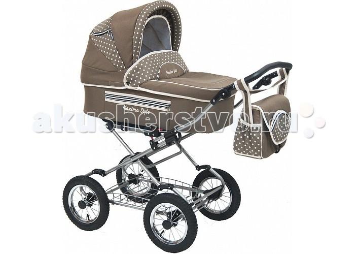Коляска Maxima Style 2 в 1Style 2 в 1Коляска Maxima Style 2 в 1 - это стильная коляска с мягким ходом, высокой проходимостью и прекрасной амортизацией. Богатый функционал и яркий дизайн делают эту модель привлекательной для молодых, современных родителей.         Люлька:  внутренний размер: 80х36х22 см водоотталкивающая ткань                                                                                                                                деревянное донышко регулируемый подголовник: 4 положения функция колыбели, с фиксаторами теплый конверт на натуральной набивной овчине, трансформируется в матрасик накидка на ножки вместительная сумка  капюшон с окошком для вентиляции и защитной сеткой вес (люлька + рама) 15 кг Прогулочный блок: спальное место: 84х34 см устанавливается лицом к маме и наоборот пятиточечные ремни безопасности возможность крепления мехового конверта наклон спинки регулируется в 4-х положениях капюшон (переставляется с люльки) подножка регулируется в нескольких положениях тканевая часть подножки защищена специальной пленкой Рама: облегченная стальная рама механизм складывания - книжка ширина шасси: 59 см колеса: надувные, камерные на подшипниках закрытого типа, не требующих смазки диаметр колес: 30 см корзина для покупок регулировка высоты ручки: 4 положения<br>