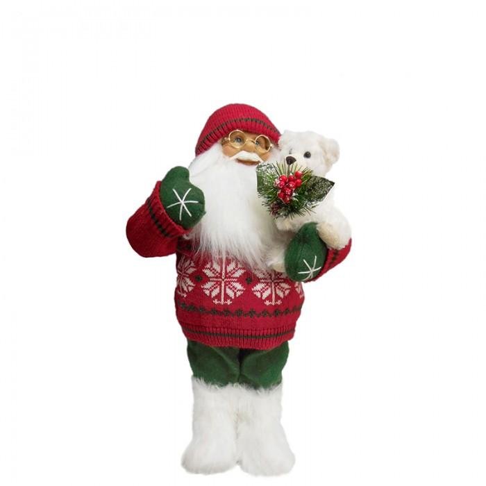 Игровые фигурки Maxitoys Дед Мороз в Красном Свитере с Мишкой фигурки игрушки maxitoys дед мороз