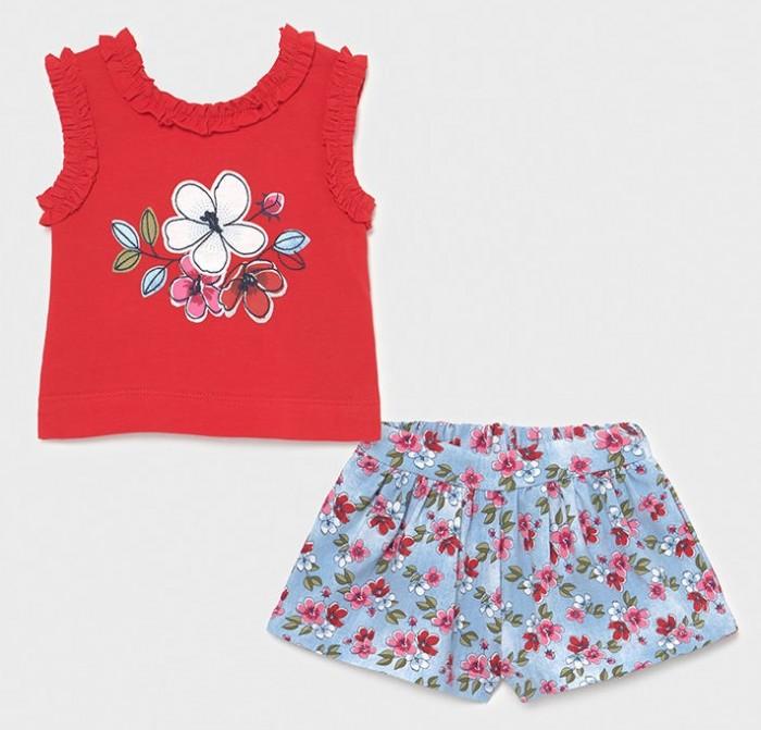 Mayoral Комплект для девочки (шорты, футболка) Цветы 1228