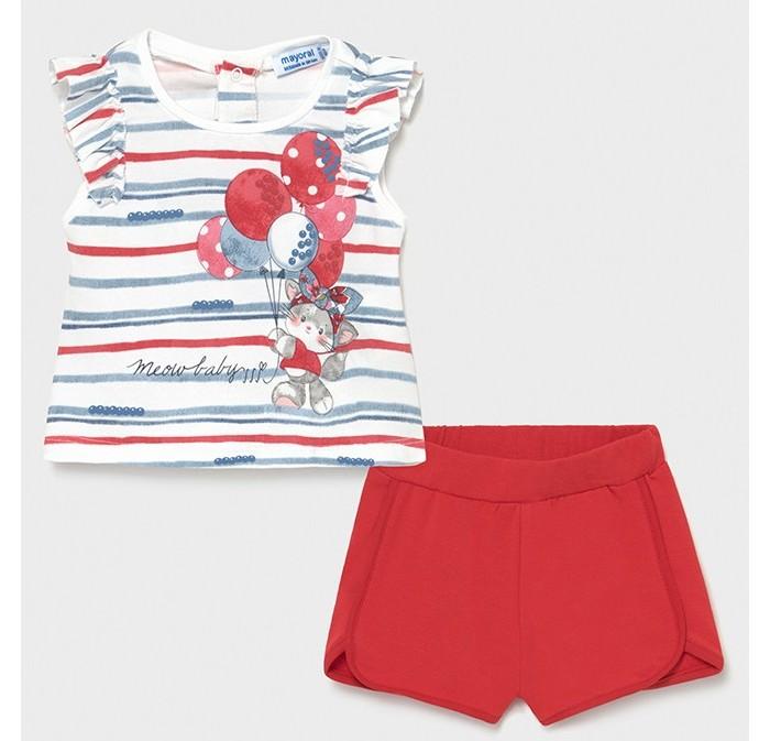 Mayoral Комплект для девочки (шорты, футболка) Кошечка с воздушными шариками 1232 Комплект для девочки (шорты, футболка) Кошечка с воздушными шари