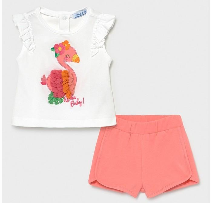 Комплекты детской одежды Mayoral Комплект для девочки (шорты, футболка) Птичка 1232