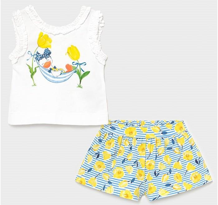 Mayoral Комплект для девочки (шорты, футболка) Уточка в гамаке 1228