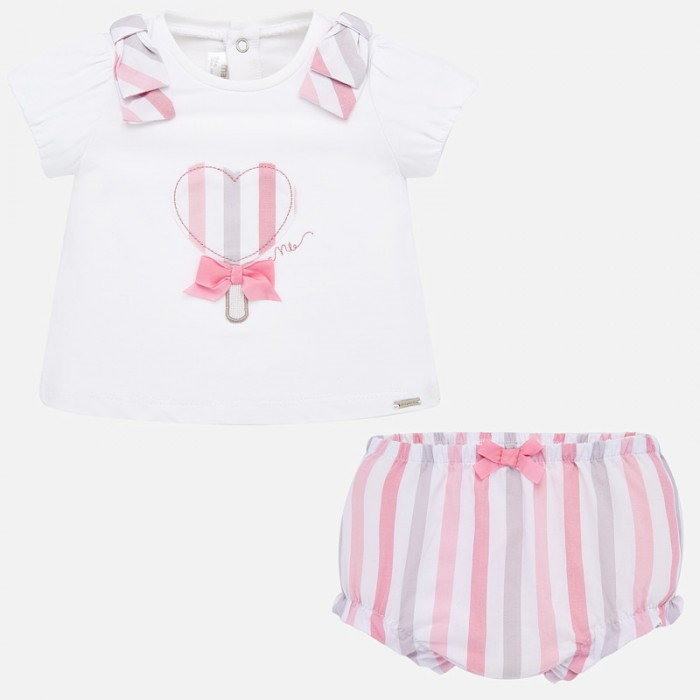 Картинка для Mayoral Комплект для девочки (шорты и футболка) Сердечко New Born 1138