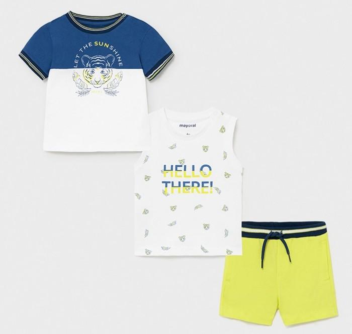 Фото - Комплекты детской одежды Mayoral Комплект для мальчика (майка, футболка, шорты) 1668 комплекты детской одежды mayoral комплект для мальчика шорты футболка 1671