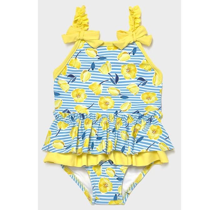 купальники happy baby купальник двухпредметный для девочки Купальники Mayoral Купальник для девочки Цветы/Полоски 1719