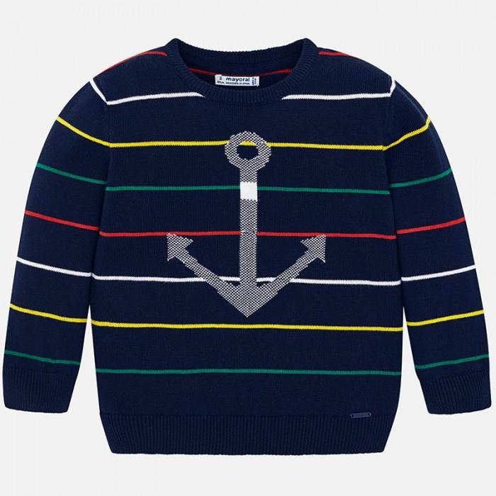 Mayoral Свитер для мальчика 3306Джемперы, свитера, пуловеры<br>Mayoral Свитер для мальчика 3306  Свитер для мальчика от торговой марки Mayoral - замечательная модель, которая отлично подойдет для повседневной носки.  Модель сшита из плотного трикотажного полотна с высоким содержанием хлопковых волокон. Приятная на ощупь ткань отлично сохраняет тепло, поглощает влагу с поверхности тела, обладает высокой воздухопроницаемостью.  Состав: 100% Хлопок Рекомендации по уходу: автоматическая стирка при температуре до 40 С.  Mayoral — известный во всем мире испанский бренд детской одежды. Компания выпускает повседневную одежду для детей от рождения до 16 лет, а так же аксессуары для новорожденных и детскую обувь. Детская одежда Mayoral представлена широким ассортиментом на все случаи жизни: от пляжных вещей до свитеров, от шляпок и ремней до пальто. Одежда бренда отличается многослойностью в образах и стильным сочетанием цветов в комплектах.