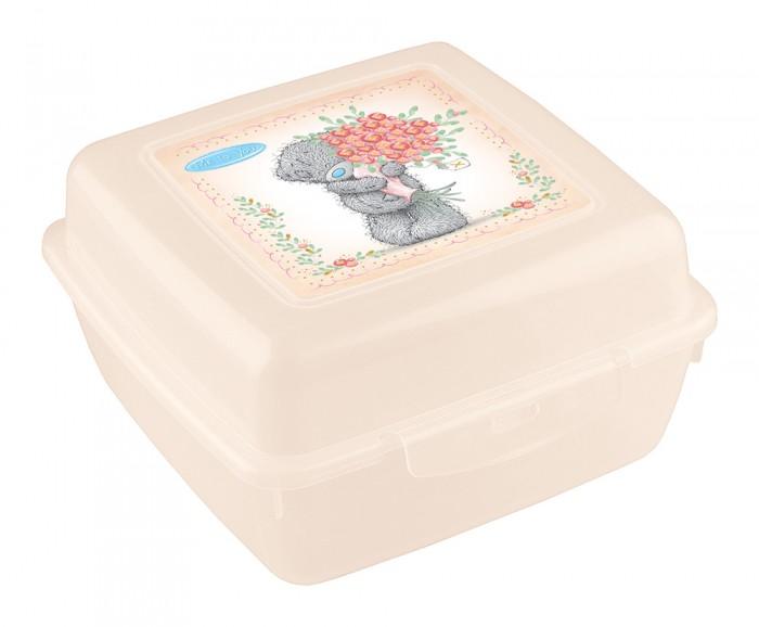 Контейнеры для еды Me to You Контейнер для бутербродов с аппликацией Мишка с цветами 140х140х75 мм
