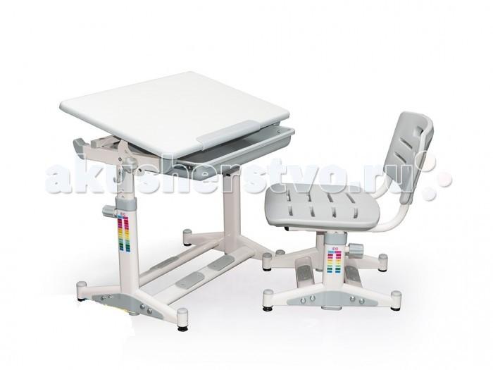 Mealux Стол и стул EVO-06Стол и стул EVO-06Стол и стул Mealux EVO-06 эргономичный, компактный, регулируемый по высоте, с ортопедическим стулом и современным дизайном комплект ученической мебели для самых маленьких.   Предназначен для деток от 3-х лет до первых классов школы. Под столешницей расположен выдвижной ящик для канцелярских принадлежностей. Легкую и безопасную регулировку наклона столешницы обеспечивают резьбовые фиксаторы.  Особенности: Угол столешницы плавно изменяется от 0° до 40°, что позволяет ребенку максимальный простор для творчества, от простого письма до рисования в положении мольберта Для рисования рекомендуется угол от 30° до 40°, для чтения от 15° до 30°, письма от 0° до 15° Анти-бликовое покрытие для защиты глаз Вашего ребенка Пенал для мелких канцелярских принадлежностей Специальные ограничители защищают руки Вашего ребенка от травм Выдвижной пластиковый ящик с отделениями для канцелярских товаров оборудован подшипниковым механизмом для легкого скольжения Крючок для портфеля (рюкзака) организует рабочее место ребенка Стул с вентиляцией для комфорта Вашего ребенка<br>