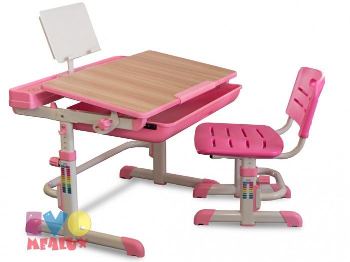Mealux Комплект мебели столик и стульчик EVO-04Комплект мебели столик и стульчик EVO-04Mealux Комплект мебели столик и стульчик EVO-04  Барьер удержит книги и тетради на месте при наклоне столешницы. Большой ящик-органайзер для тетрадей и канцелярии, позволит держать все в одном месте. Задняя полочка с разъемами для аксессуаров и пеналами.  Механизм с фиксатором обеспечит легкость изменения наклона столешницы. Крючок позволит ребенку держать портфель рядом.  Размеры: Ширина, см: 70,5 Глубина, см: 53,5 Max высота столешницы: 76 см. Min высота столешницы: 54 см. Регулировка высоты: Да Угол наклона: 0-60 град. Высота, см: 54 - 76<br>