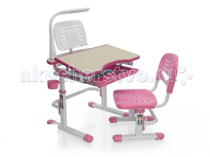 Mealux Комплект мебели столик и стульчик EVO-04 с лампойКомплект мебели столик и стульчик EVO-04 с лампойMealux Комплект мебели столик и стульчик EVO-04 с лампой  Барьер удержит книги и тетради на месте при наклоне столешницы. Большой ящик-органайзер для тетрадей и канцелярии, позволит держать все в одном месте. Задняя полочка с разъемами для аксессуаров и пеналами.  Механизм с фиксатором обеспечит легкость изменения наклона столешницы. Крючок позволит ребенку держать портфель рядом.  Размеры: Ширина, см: 70,5 Глубина, см: 53,5 Max высота столешницы: 76 см. Min высота столешницы: 54 см. Регулировка высоты: Да Угол наклона: 0-60 град. Высота, см: 54 - 76<br>