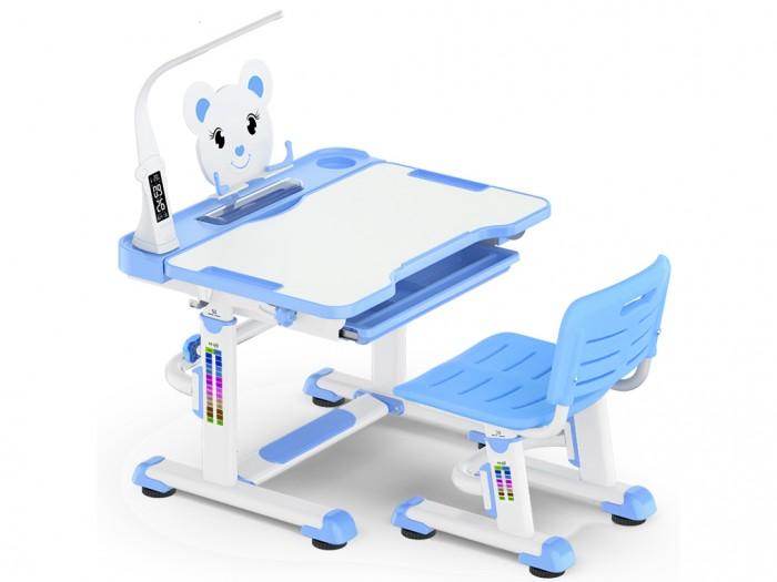 Mealux Комплект мебели столик и стульчик BD-04 XL с лампойКомплект мебели столик и стульчик BD-04 XL с лампойMealux Комплект мебели столик и стульчик BD-04 XL с лампой  Барьер удержит тетради и книги на столе при наклоне. Большой ящик-органайзер для тетрадей и канцелярии, позволит держать все в одном месте. Пенал для самого необходимого.   Усиленный пластик стульчика повышает надежность и долговечность. Угол наклона столешницы изменяется при ослаблении фиксаторов.   Регулировка высоты имеет дополнительные фиксаторы. Ножки парты имеют специальные накладки.   Размеры: Ширина, см: 80 Глубина, см: 60 Max высота столешницы: 78 см. Min высота столешницы: 52 см. Регулировка высоты: Да Угол наклона: 0-40 град. Высота, см: 52 - 78<br>