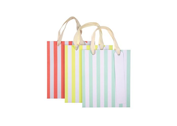 Товары для праздника MeriMeri Пакеты подарочные в полоску 3 шт.