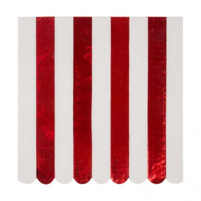 Товары для праздника MeriMeri Салфетки блестящие полоски 165х165 мм 16 шт. недорого
