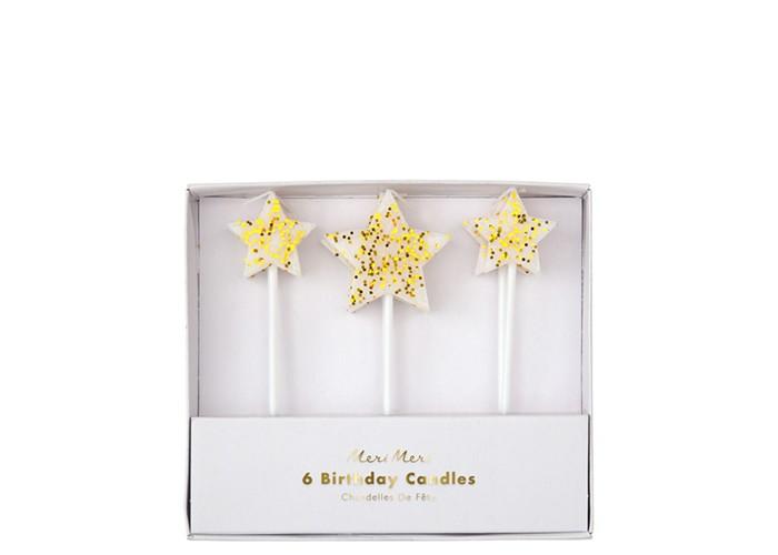 Товары для праздника MeriMeri Свечи Звезда с блестками 6 шт. свитшот print bar задуваю свечи с 1973