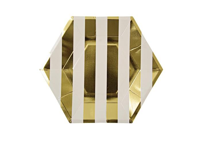 Купить Товары для праздника, MeriMeri Тарелки в полоску большие 255x220 мм 8 шт.