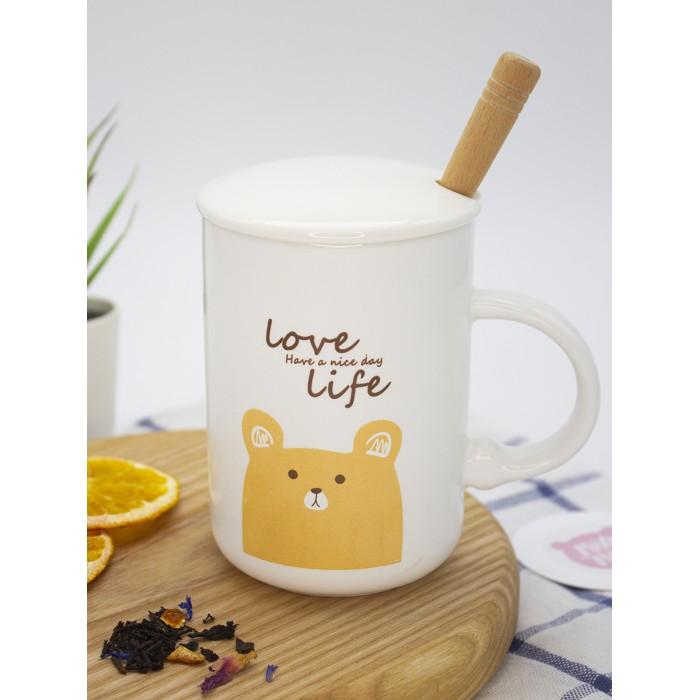 Купить Посуда и инвентарь, Mihi Mihi Кружка Мишка Love Life с крышкой и ложечкой 420 мл