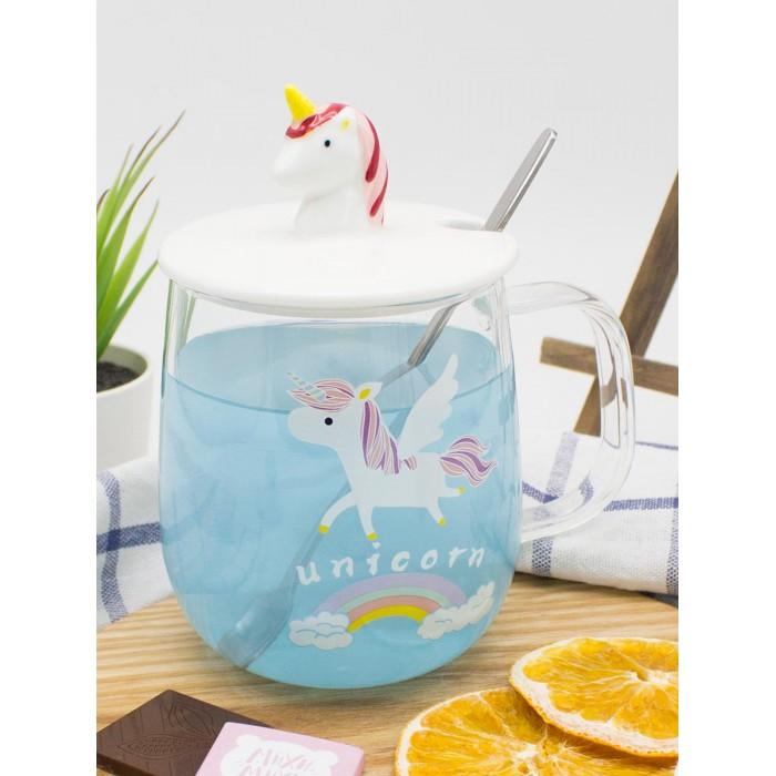Купить Посуда и инвентарь, Mihi Mihi Кружка с крышкой и ложкой Единорог на радуге 420 мл