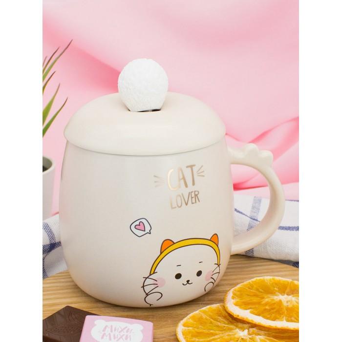 Купить Посуда и инвентарь, Mihi Mihi Кружка с крышкой и ложкой Котик Cat Lover 420 мл