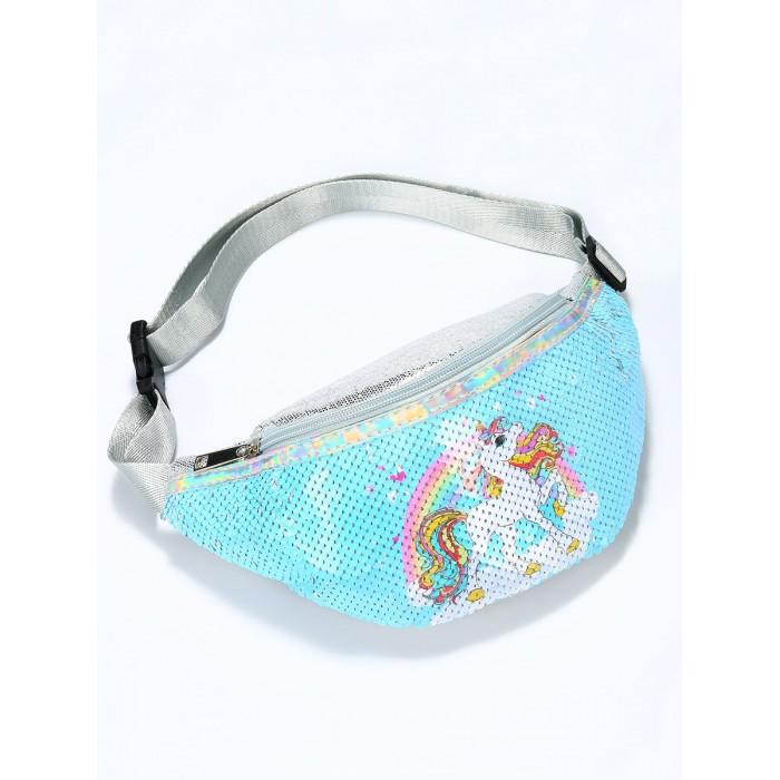 Купить Сумки для детей, Mihi Mihi Сумочка поясная с пайетками Радужный Единорог