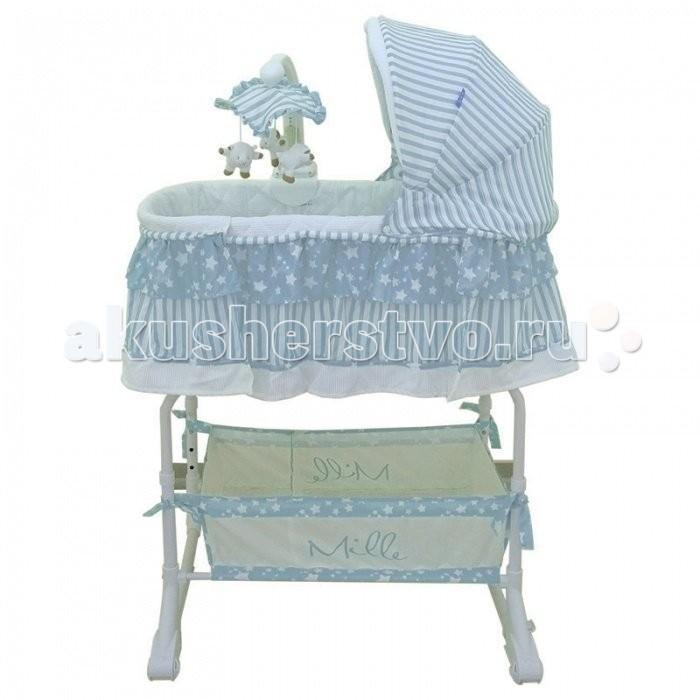 Колыбель Mille люлька 4 в 1 Starsлюлька 4 в 1 StarsДетская кроватка Mille люлька 4 в 1 Stars S106 - эргономичная кроватка-люлька, которую удобно использовать как отдельную кроватку, так и для установки рядом с кроватью мамы. Для этого у кроватки имеется откидывающийся бортик.   Высота люльки от пола регулируется в нескольких положениях. Кроватка оснащена колесами, благодаря чему ее легко перемещать по квартире. Чтобы зафиксировать кроватку на одном месте, колеса легко убрать.   Для отделки люльки использованы только натуральные ткани, в том числе вафельная. Большим преимуществом вафельной ткани является ее высокая экологичность. Это абсолютно гипоаллергенный материал. Для кожи он просто идеален. Все изделия из вафельной ткани достаточно легко переносят стирку моющими средствами. При этом они сохраняют свой первоначальный вид, не вытягиваясь и не прокрашиваясь. Оптимальное сочетание таких свойств, как мягкость, гигроскопичность, отличная прочность и длительный срок эксплуатации, делают этот материал идеальным для использования в детских кроватках. Все тканевые детали люльки съёмные.   Особенности люльки:  установка рядом с кроватью мамы съёмный бортик съёмный капюшон корзина для мелочей колёса с фиксацией дуга с игрушками пульт дистанционного управления регулировка высоты ножек удобный матрасик возможность использования в качестве пеленального столика  Функции дуги с игрушками и пультом управления:  Ночная подсветка с таймером на 5 минут. Вибрация с регулировкой силы вибрации. Музыка с регулировкой громкости. Малый свет - режим светового шоу длительностью 5 минут. Вращение игрушек. Дистанционный пульт управления имеет те же функции управления как и дуга с игрушками. Для использования в колыбели подходят матрасы толщиной не более 3-4 см.  Для дуги с игрушками и пульта управления необходимы батарейки: 6 х АА (в комплект не входят).<br>