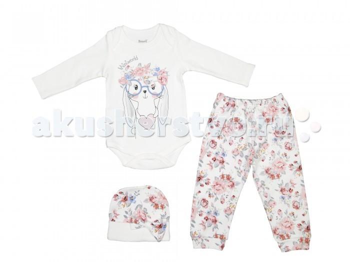 Комплекты детской одежды Mini World Комплект для девочки (Боди, брюки и шапка) MW14328 шапки mialt шапка