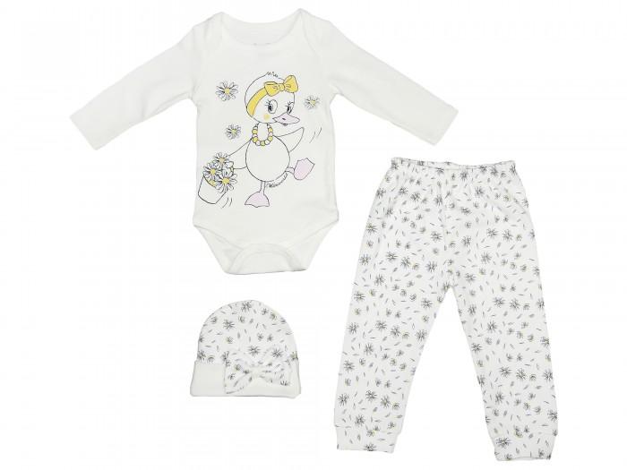 Комплекты детской одежды Mini World Комплект для девочки (Боди, брюки и шапка) MW14347 комплекты детской одежды mini world подарочный набор для девочки 5 предм��тов mw13908