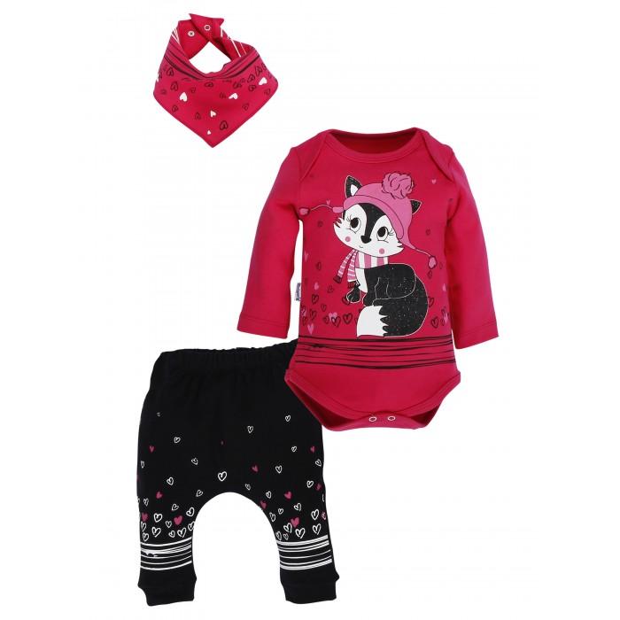 Mini World Комплект для девочки (боди, брюки, нагрудник)