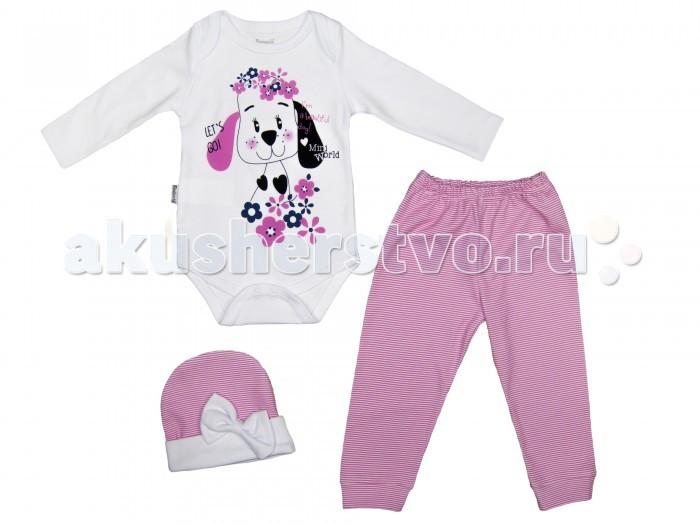 Комплекты детской одежды Mini World Комплект для девочки (Боди, брюки, шапка) MW14303