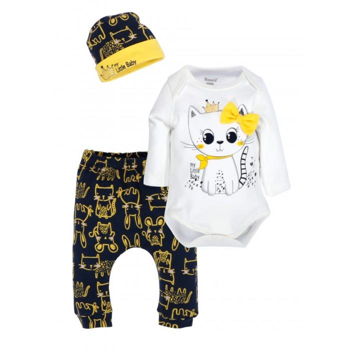 Mini World Комплект для девочки (боди, брюки, шапка) MW14836