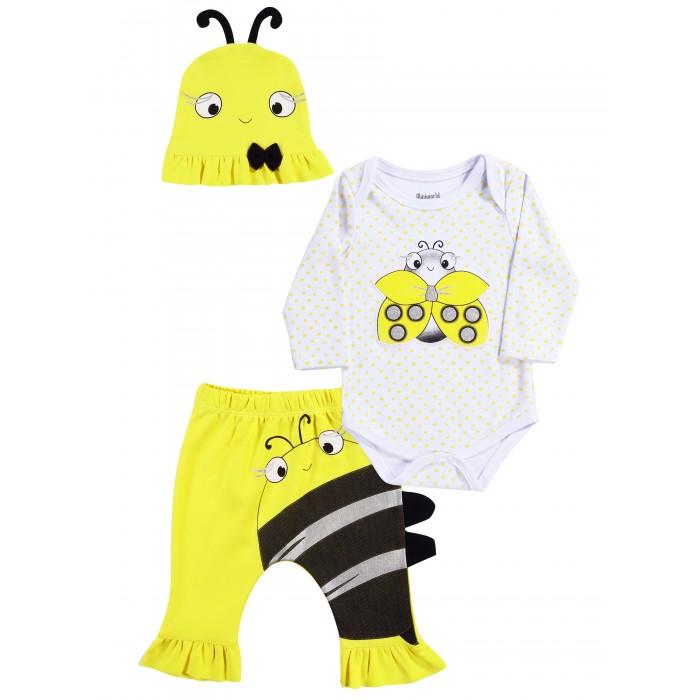 Mini World Комплект для девочки (боди, брюки, шапка) MW15009