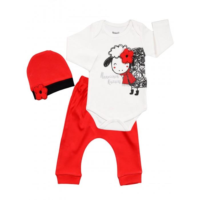 Картинка для Mini World Комплект для девочки (боди, брюки, шапка) MW15302