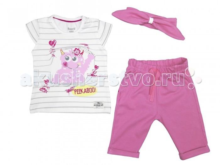Комплекты детской одежды Mini World Комплект для девочки (футболка, бриджи, повязка) MW14351 комплекты детской одежды mini world подарочный набор для девочки 5 предм��тов mw13908