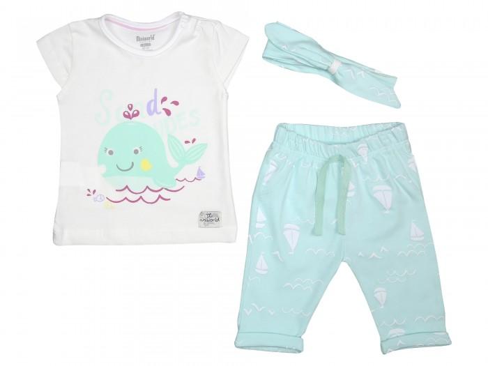 Комплекты детской одежды Mini World Комплект для девочки (футболка, бриджи, повязка) MW14352 часы mini world mn1012a