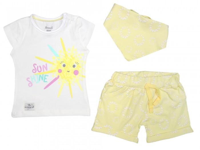 Комплекты детской одежды Mini World Комплект для девочки (футболка, шорты, нагрудник) MW14357 часы mini world mn1012a