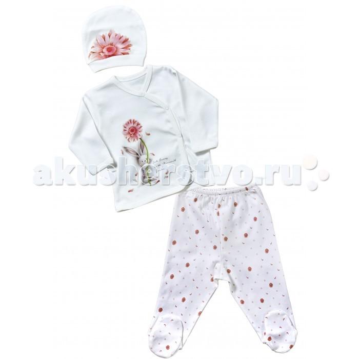 Комплекты детской одежды Mini World Комплект для девочки (кофта, ползунки, шапка) MW14250 комплекты детской одежды mini world подарочный набор для девочки 5 предм��тов mw13908