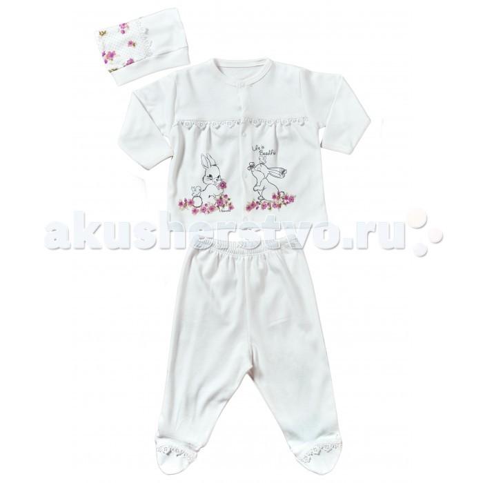 Комплекты детской одежды Mini World Комплект для девочки (кофта, ползунки, шапка) MW14253 комплекты детской одежды mini world подарочный набор для девочки 5 предм��тов mw13908