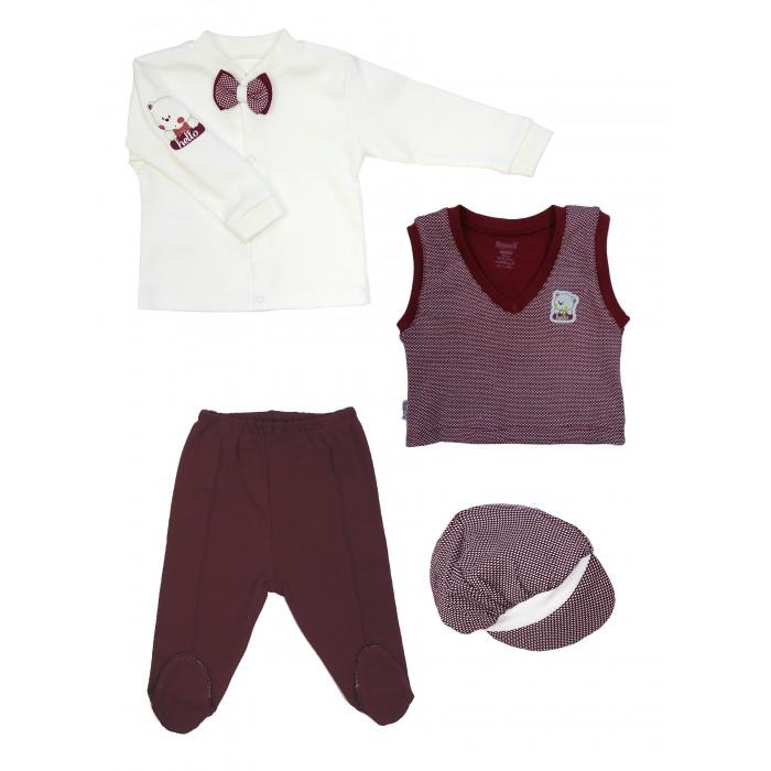 Mini World Комплект для мальчика (Жилет, кофта, ползунки и шапка) MW14577