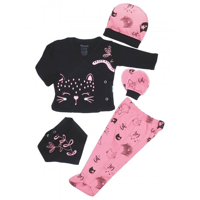 Фото - Комплекты детской одежды Mini World Комплект для новорожденного (распашонка, ползунки, шапка, нагрудник и царапки) MW15391 распашонки и ползунки bonito kids ползунки для мальчика коала
