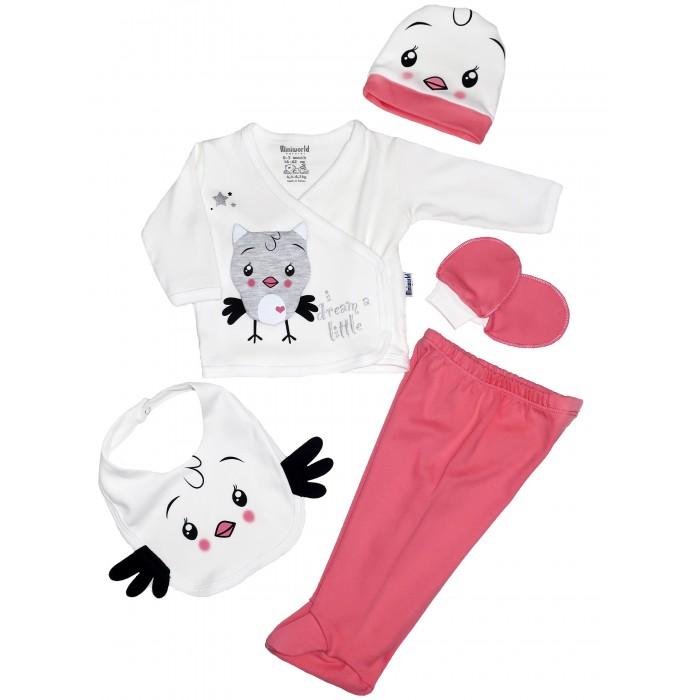 Картинка для Комплекты детской одежды Mini World Комплект для новорожденного (распашонка, ползунки, шапка, слюнявчик и царапки) MW15149