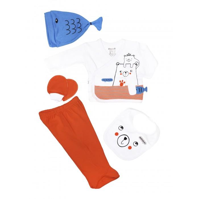 Комплекты детской одежды Mini World Комплект для новорожденного (распашонка, ползунки, шапка, слюнявчик и царапки) MW15151